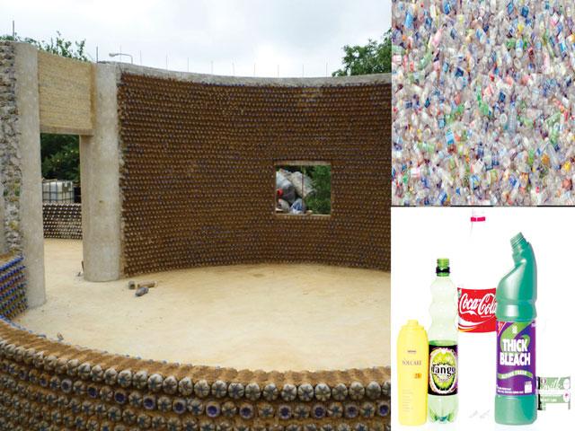 Una casa costruita con bottiglie di plastica for Ottenere una casa costruita