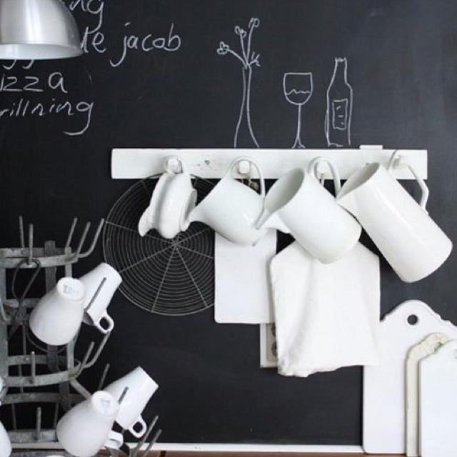 Una parete di lavagna in casa - Lavagna cucina design ...