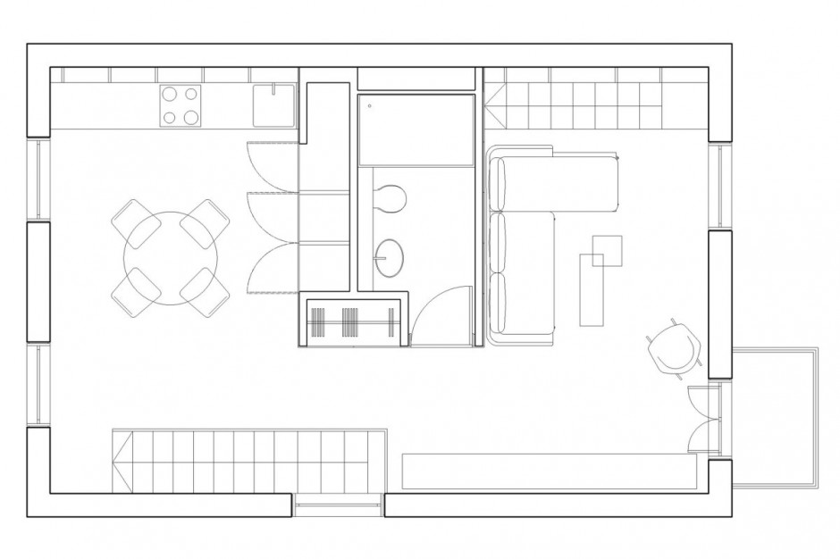 Mini appartamenti 5 soluzioni sorprendenti dai 40 ai 50 for Piccoli progetti di case gratuiti