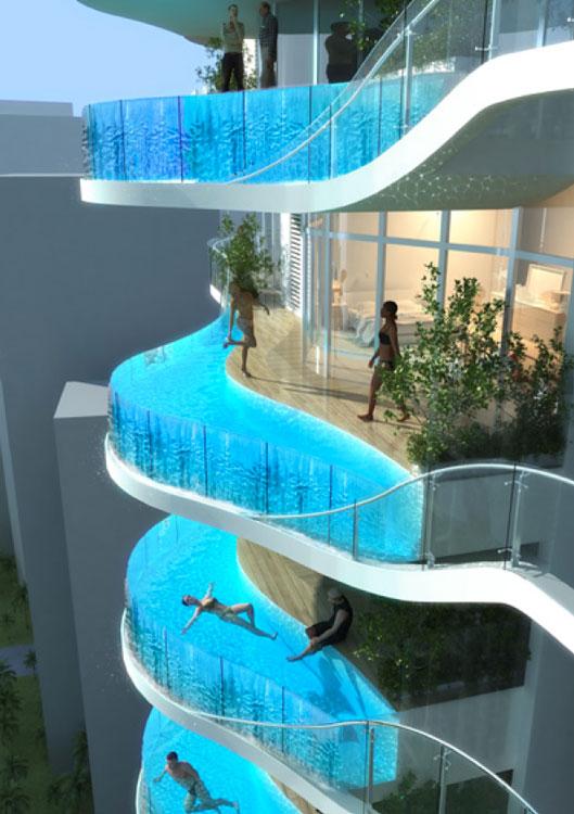 In piscina sul balcone di casa la bandra ohm tower for Piscina in casa