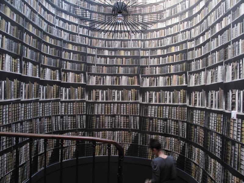 Sette idee semplici ed originali per decorare le pareti di for Carta da parati libri