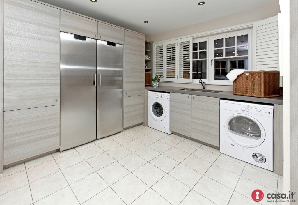 Modern laundry room inside big kitchen interior