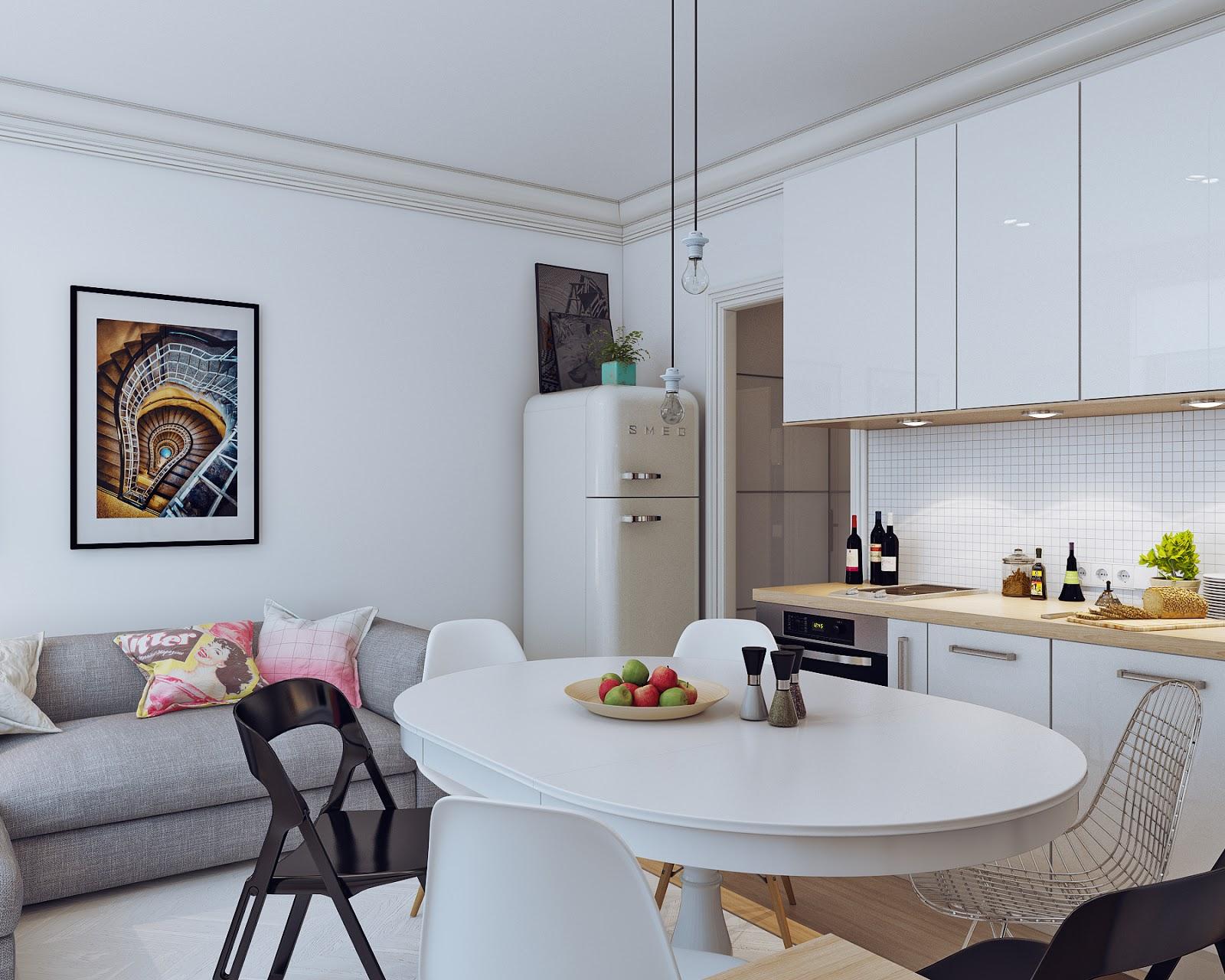 Arredare piccoli spazi giocando con i colori 25 mq - Amueblar apartamento ...