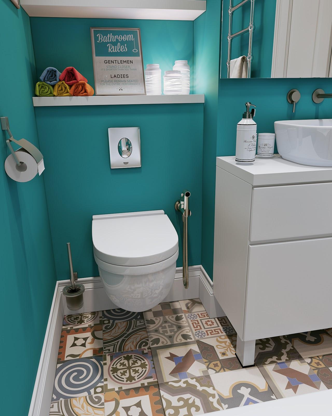 Arredare piccoli spazi giocando con i colori 25 mq for Carrelage salle de bain colore