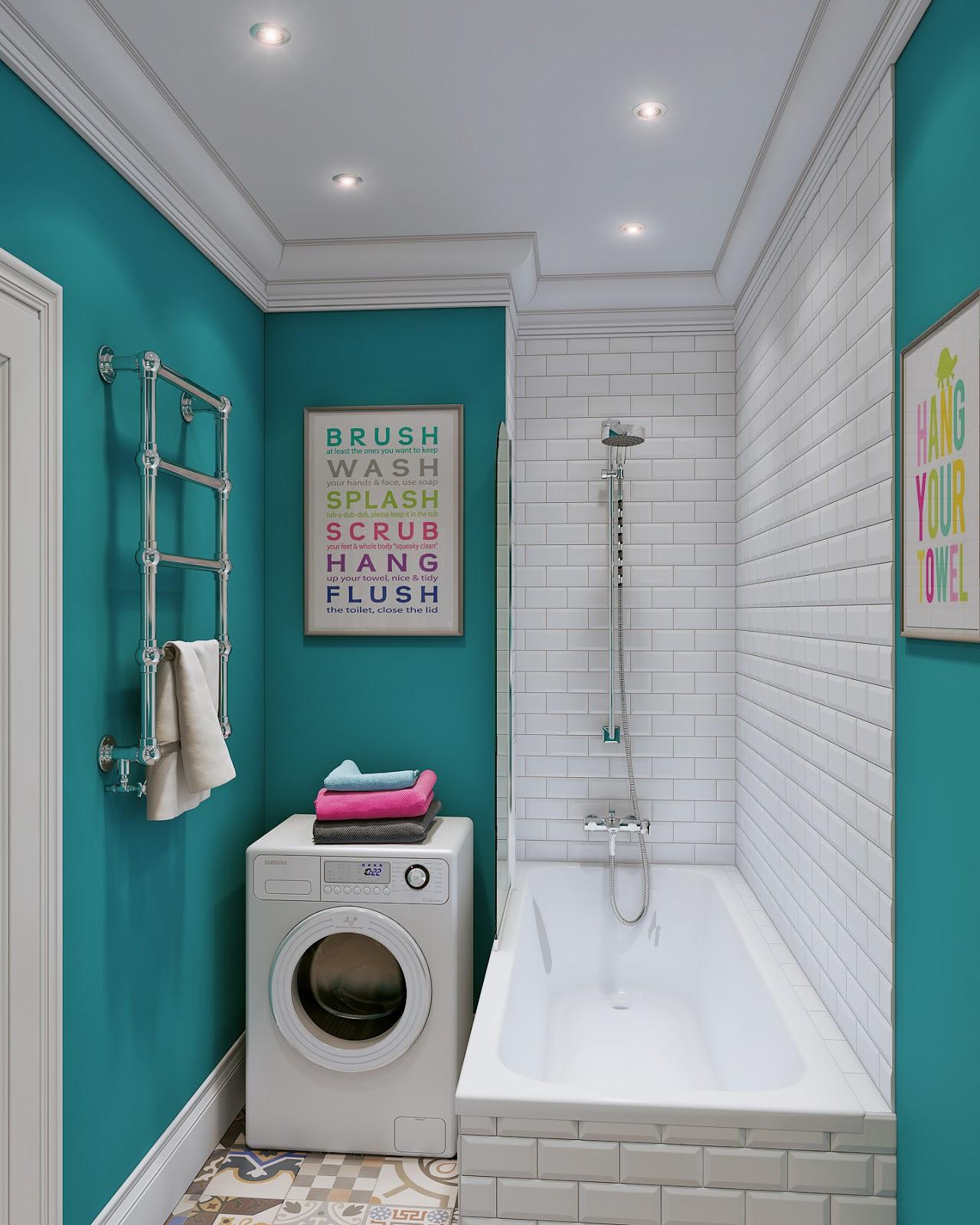 Arredare piccoli spazi giocando con i colori 25 mq for Salle de bain peinture ou carrelage