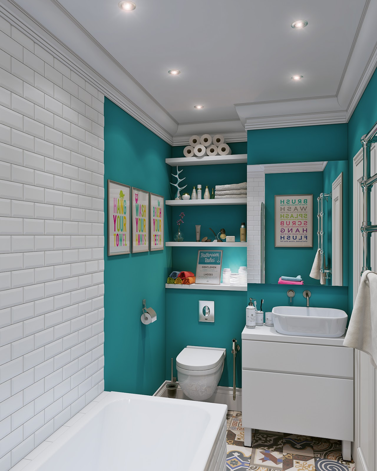 Arredare piccoli spazi giocando con i colori 25 mq for Salle de bain theme mer