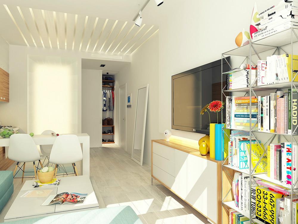 Arredare un monolocale di 30 mq il progetto che fa per voi for Arredare con la luce