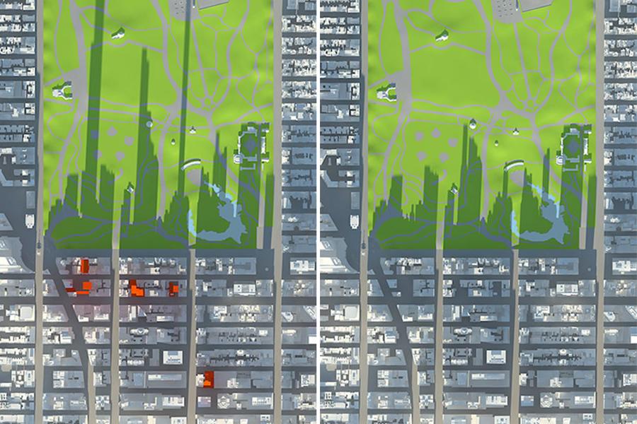 ombre grattacieli di new york