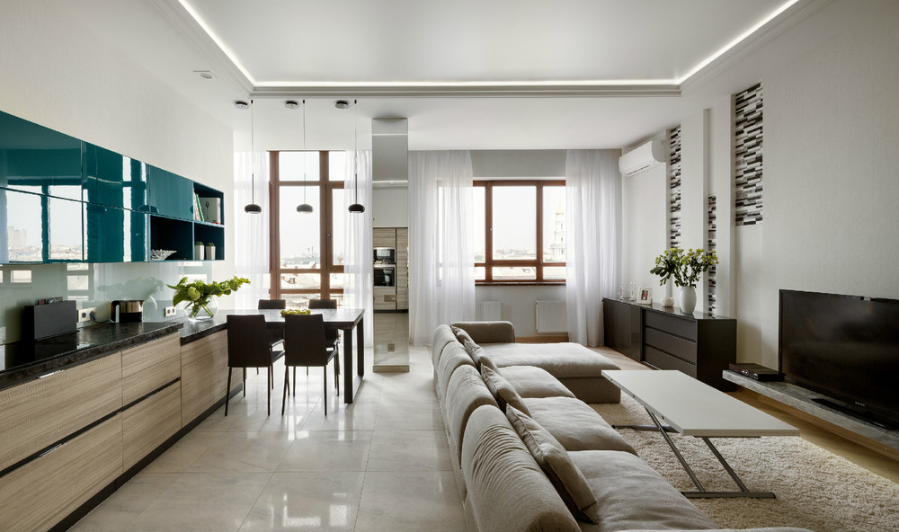 una casa per una famiglia numerosa - Soggiorno Living Con Cucina A Vista 2