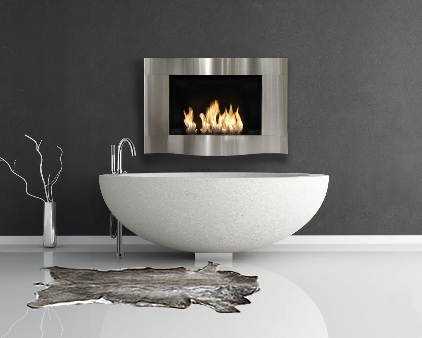 modern minimal bathroom with fashion sandstone round bathtube