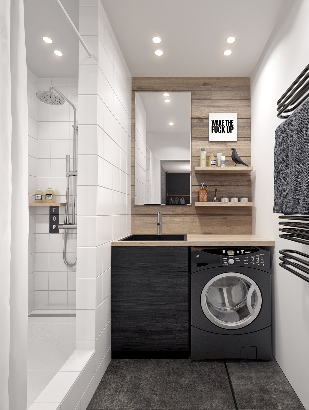 Un perfetto appartamento per single - Salle de bain petit espace design ...