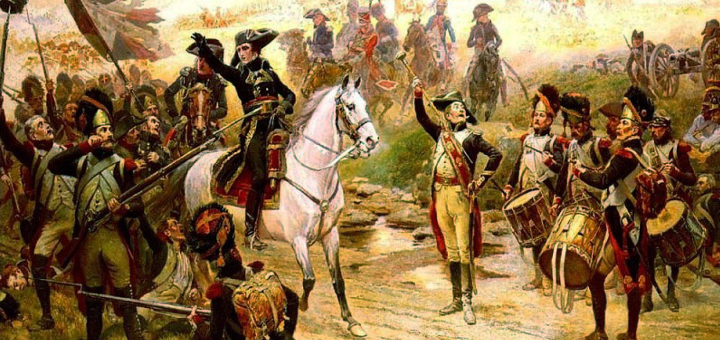 Il Primo console Bonaparte annuncia ai suoi soldati l'arrivo dei rinforzi durante la battaglia di Marengo - Alphonse Lalauze