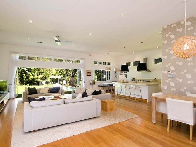 Camera per camera tante idee per arredare il soggiorno for Open plan house designs australia