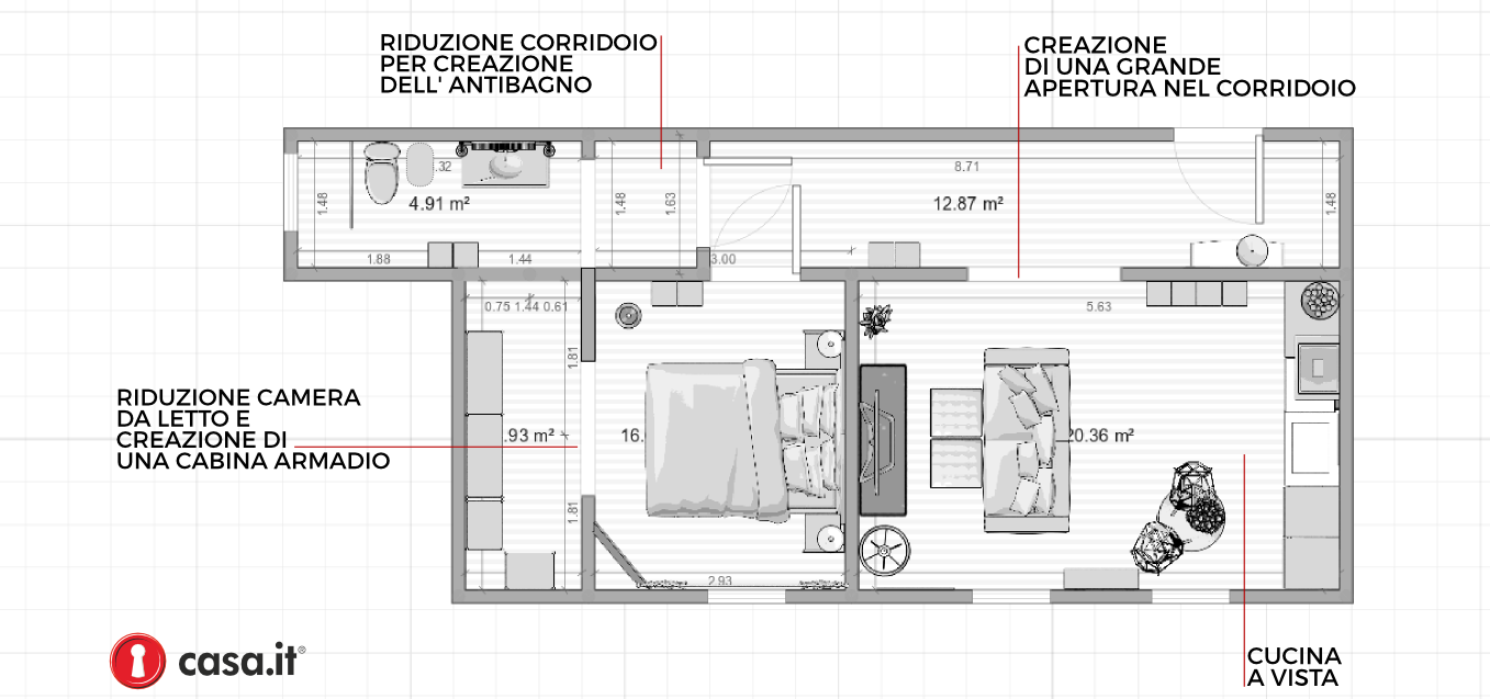 60 mq una ristrutturazione economica for Esempi di ristrutturazione appartamento