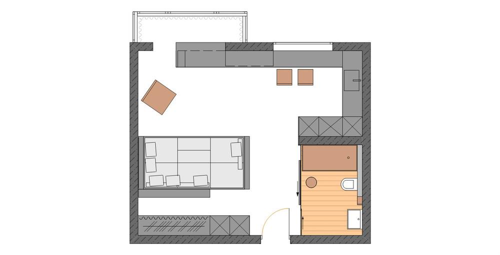 Armonia di ambienti in un appartamento di 33 mq for Arredare mini appartamento ikea