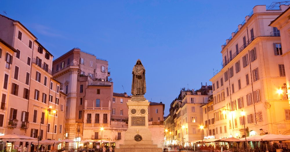 Blue hour Campo dei Fiori with statue statue of Giordano Bruno, Rome, Italy