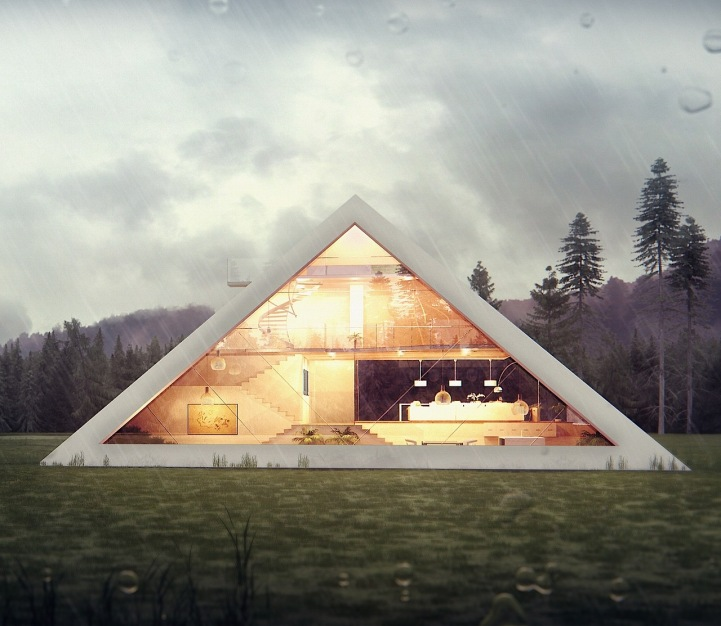 La casa piramide for A forma di ranch house