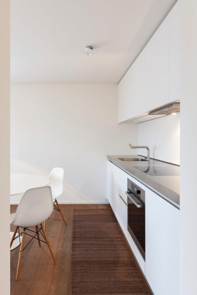 Architecture, comfortable apartment, white kitchen view
