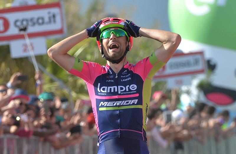 Diego Ulisssi del team Lampre Merida vincitore della quarta tappa del Giro d'Italia 2016. ANSA/LUCA ZENNARO