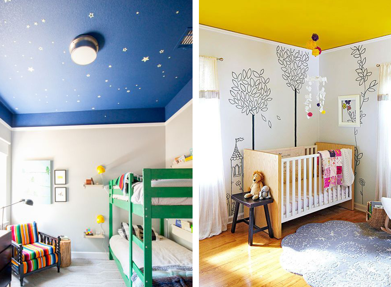 dipingere il soffitto colorato confortevole soggiorno