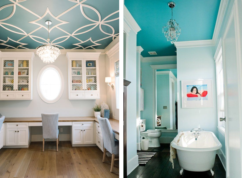 Soffitto colorato 14 bellissime idee - Controsoffitto bagno ...