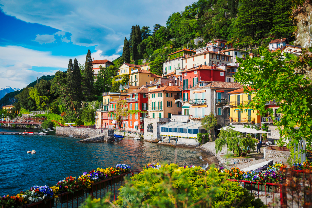 View of Varenna town at lake Como Italy