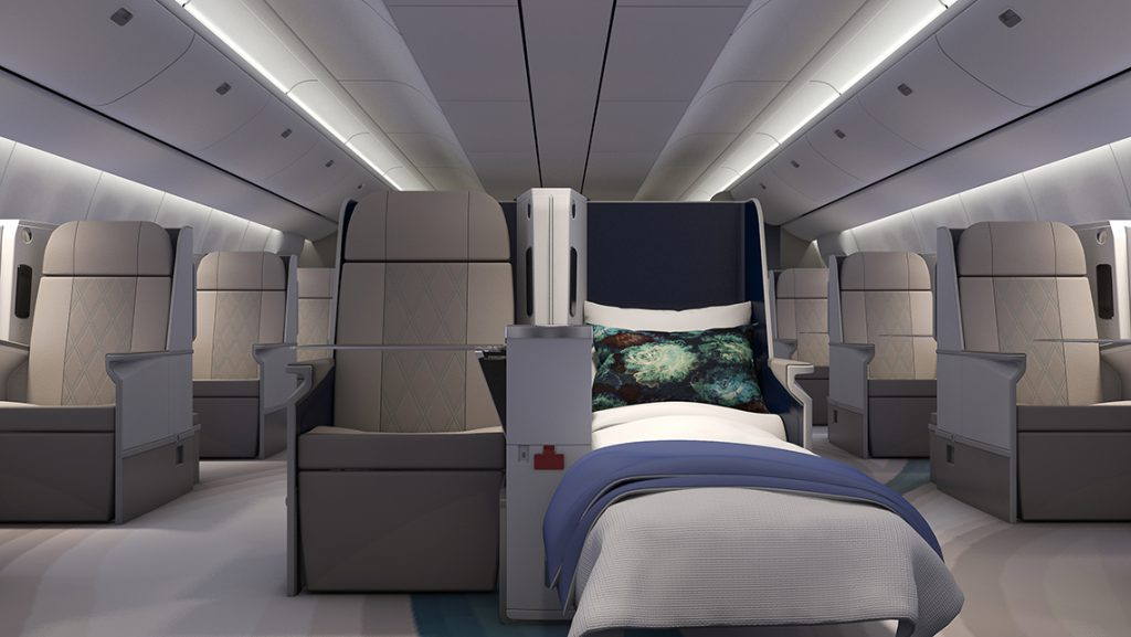 A rendering of the forward cabin on the CrystalAir jet. The plane will have room for 84 passengers in a two-two-two configuration.
