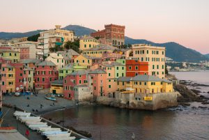 Boccadasse, a small sea district of Genoa, during the twilight