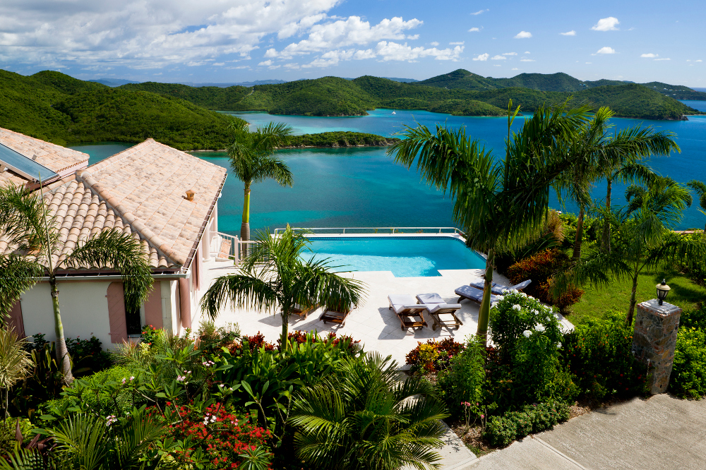 luxury Caribbean villa with a pool overlooking the Virgin Islands - perfect exotic vacation getaway