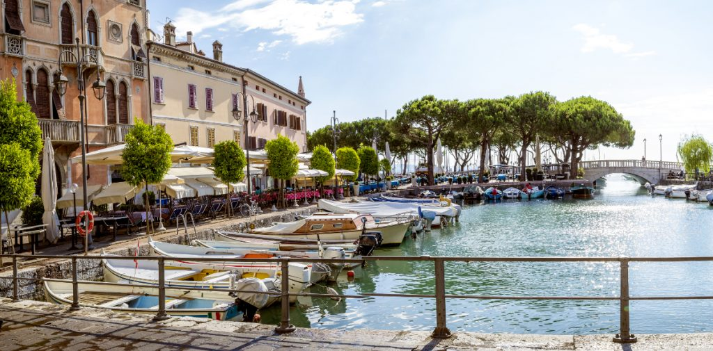 Marina in Desenzano town at Lake Garda in Italy