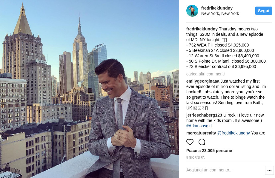 Fredrik Eklund è anche una star di Instagram