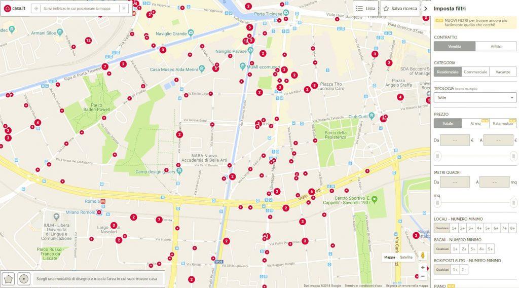 Scegli l'indirizzo da cui vuoi iniziare a cercare casa